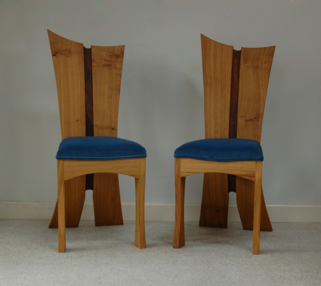 bay chair with blue seat